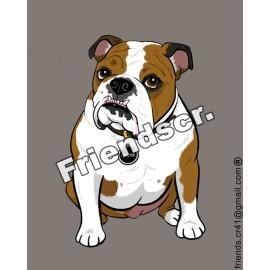 Sticker Bull dog Ingles